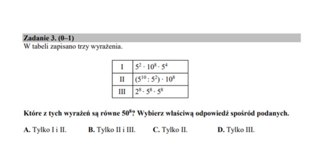 Operacje na potęgach przykładowe zadanie egzamin ósmoklasisty matematyka.