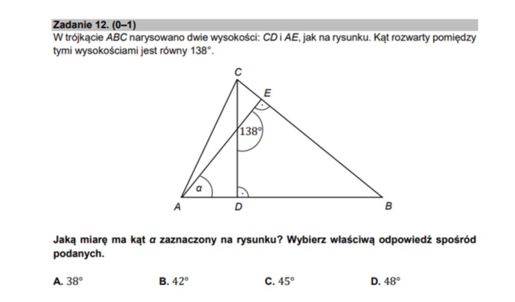 Wyznaczanie miary kąta na rysunku przykładowe zadanie egzamin ósmoklasisty matematyka.